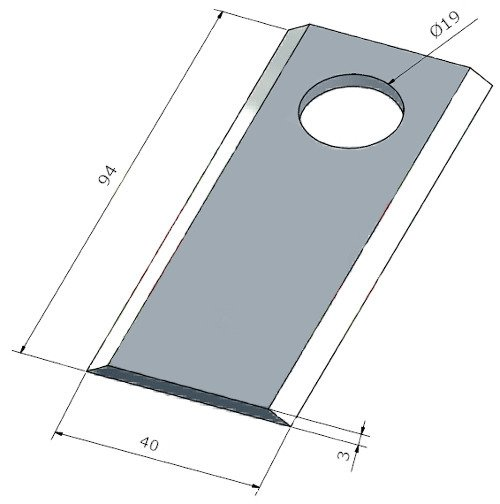 Nożyk kosiarki rotacyjnej RASSPE Germany fi 19