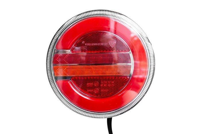 Okrągła lampa robocza tylna zespolona lewa LED 12-24V dynamiczny kierunkowskaz